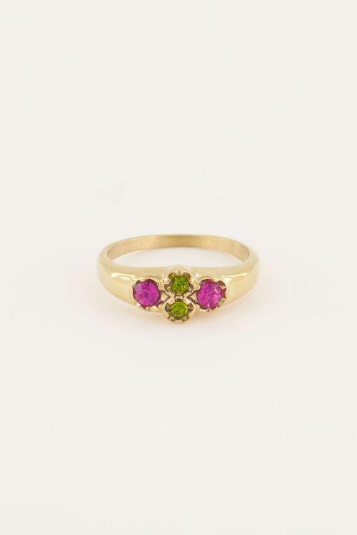 Vintage cluster ring groen kristal