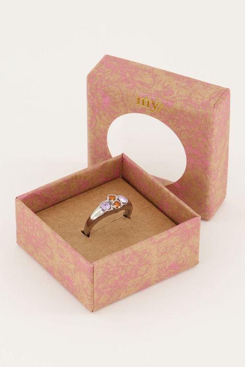Vintage-Cluster-Ring mit orangen Kristallsteinen