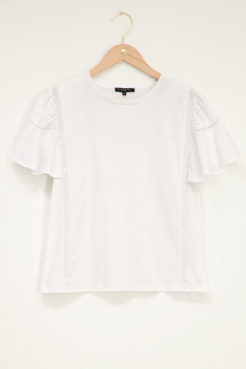 Wit jersey shirt met kant