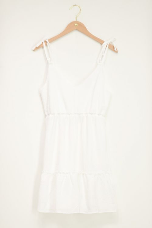 Wit mouwloos jurkje met strik band