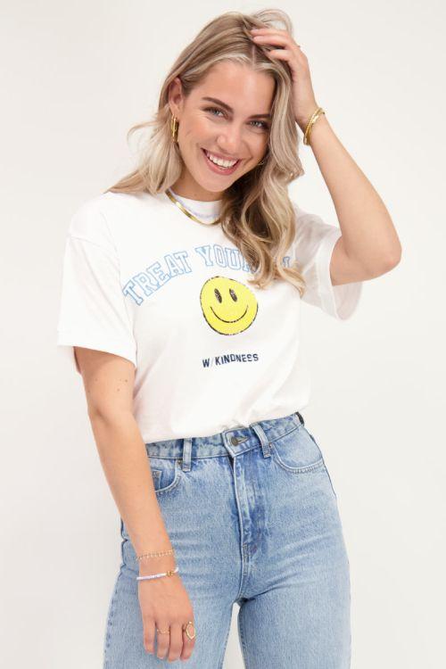Wit T-shirt met smiley print
