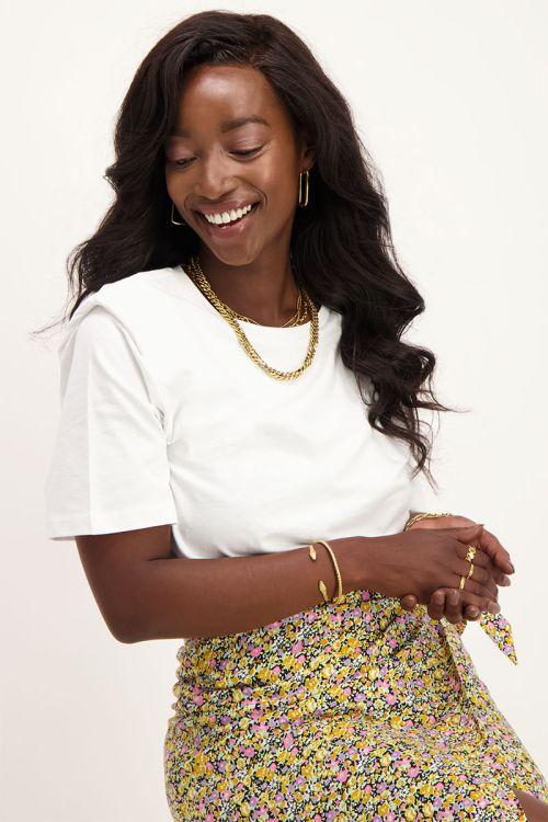 Wit T-shirt met schoudervulling | My Jewellery