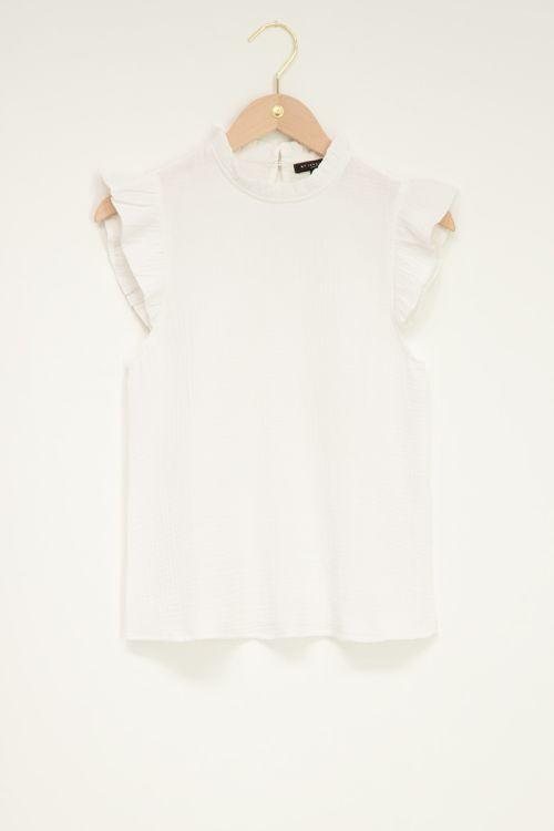 Witte top met volantmouwen, witte ruffle top