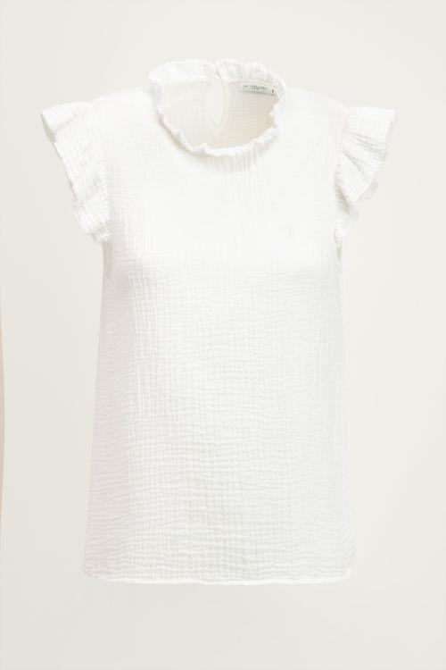 Witte top met volantmouwen, witte ruffle top My Jewellery