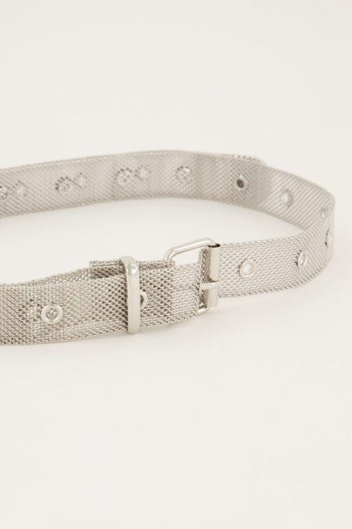 Zilverkleurige riem mesh met gaatjes