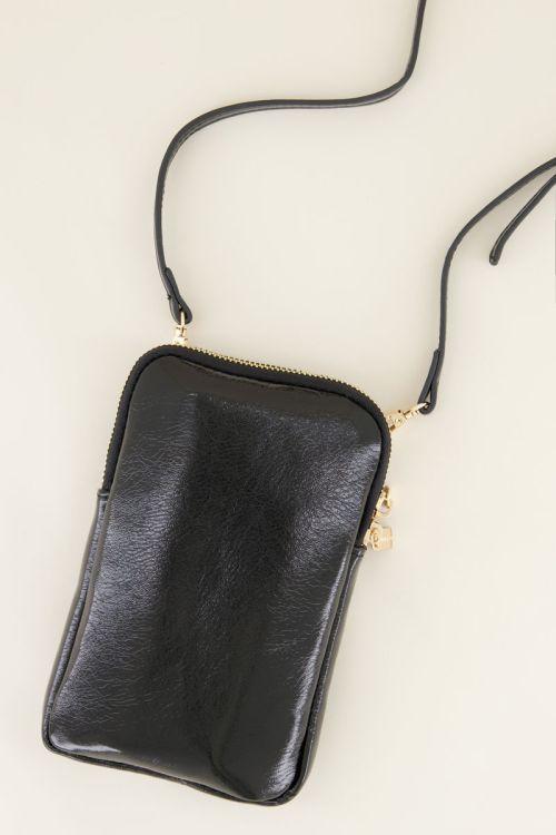 Zwarte glimmende telefoontas | My Jewellery