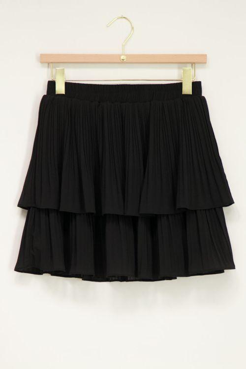 Zwarte plisse rok met twee lagen   My Jewellery