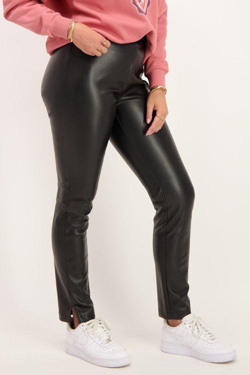 Zwarte biker broek leatherlook | broeken | My Jewellery