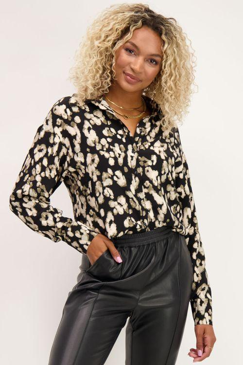 Zwarte blouse gevlekte print | Blouses | My Jewellery