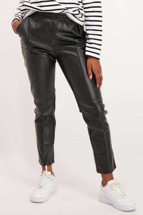 Zwarte broek leatherlook | Broeken | My Jewellery