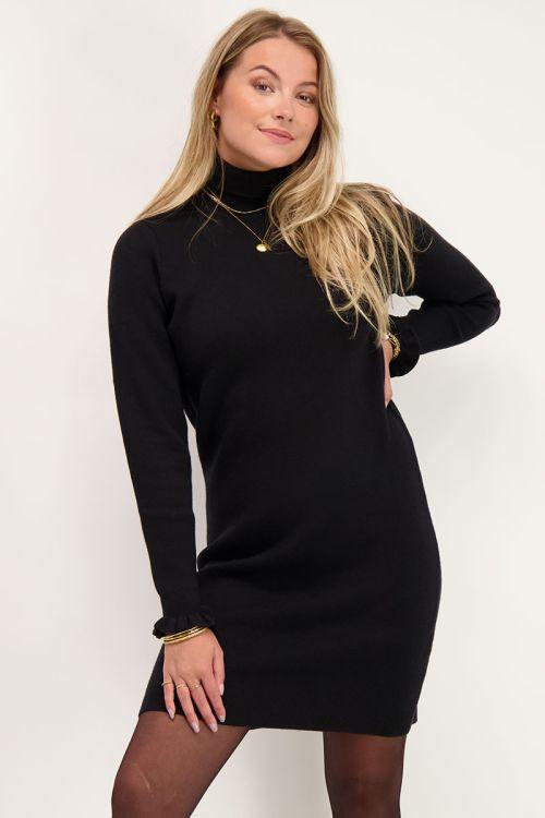 Zwarte gebreide jurk met ruffles   My Jewellery