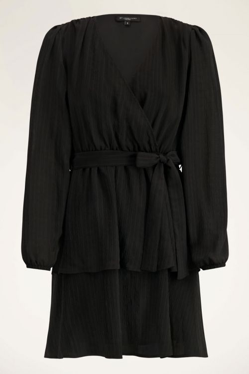 Zwarte jurk met laagjes en strik | My Jewellery