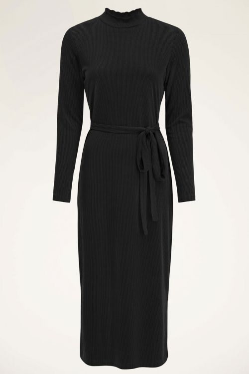 Zwarte lange jurk met ribstof | Lange jurken | My Jewellery