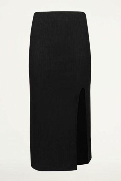 Zwarte rok met split ribstof, kokerrok
