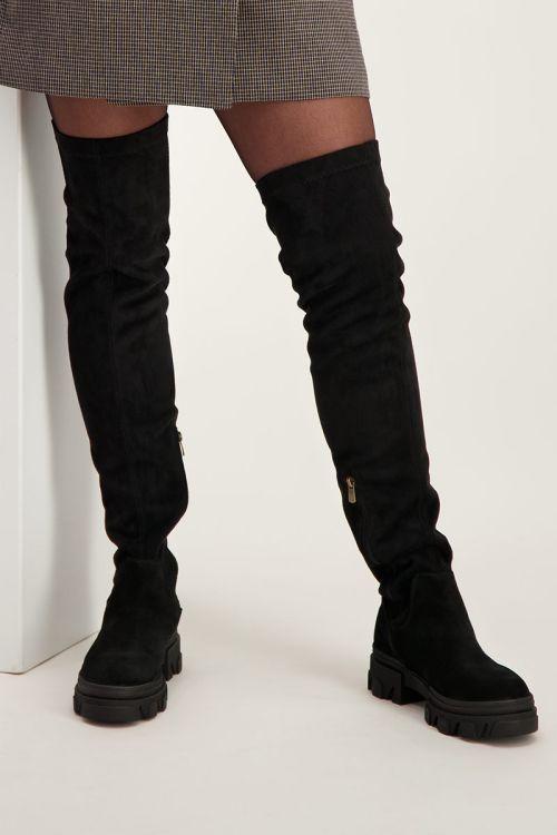 Zwarte suède overknee boots   Laarzen   My Jewellery