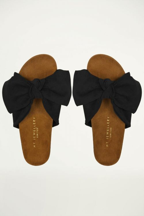 zwarte suedine sandalen met strik, sandaaltjes