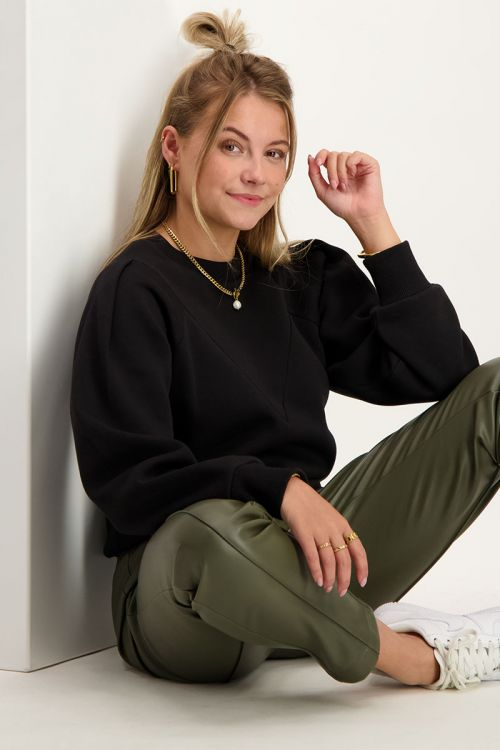 Zwarte sweater met V shape   My Jewellery