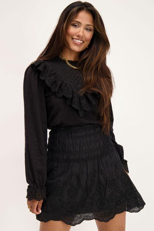 Zwarte top met embroidery & ruffles   Tops   My Jewellery