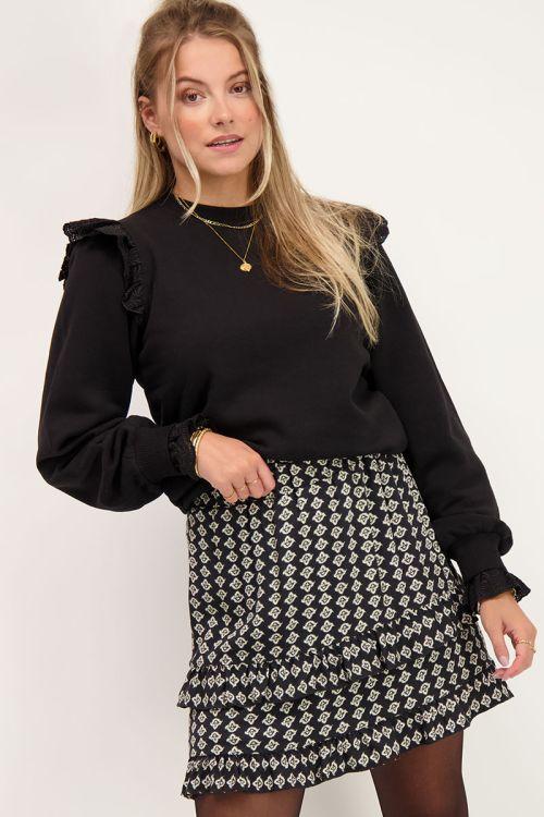 Zwarte trui met kanten schouderstuk | Truien | My Jewellery
