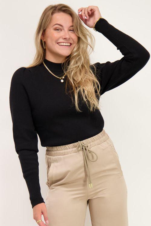 Zwarte trui met pofmouwen | Truien | My Jewellery