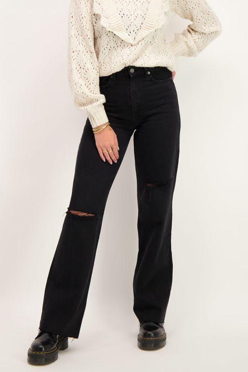 Zwarte wijdvallende jeans met scheuren   My Jewellery
