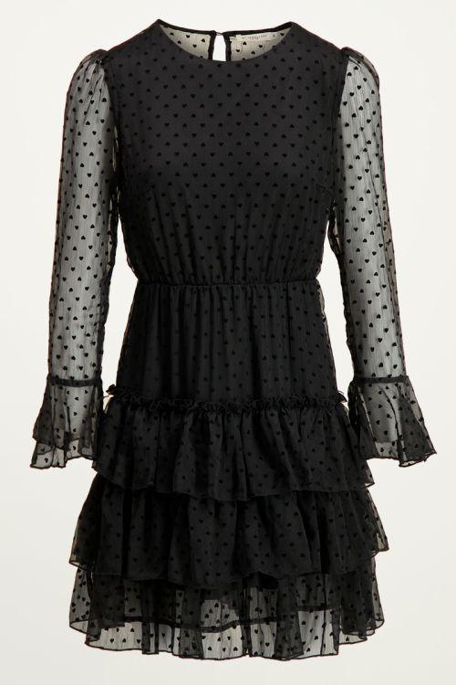 Zwarte jurk met hartjes en laagjes, jurk met laagjes My jewellery