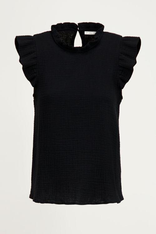 Zwarte top met volantmouwen, zwarte top ruffles My Jewellery