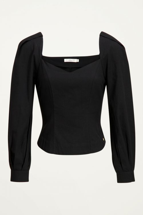 Zwarte blouse met pofmouwen, puff sleeves My Jewellery