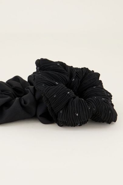 Zwarte scrunchie set