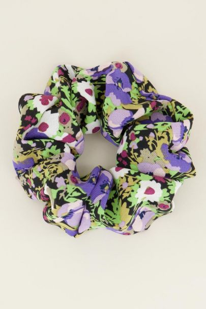 Lila bloemenprint scrunchie | My Jewellery