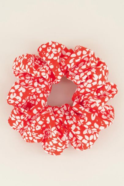Rode scrunchie bloemetjes | My Jewellery