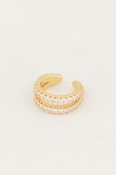 Ear cuff dubbele ring strass, nep piercing