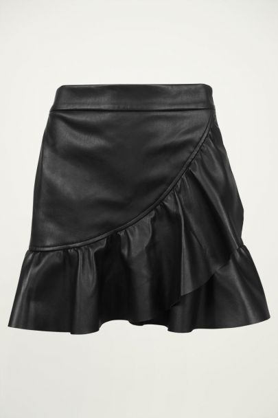 Rok met ruffles leatherlook, leren rok My Jewellery