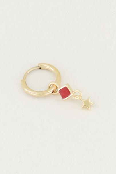 One piece oorring Red Jade & ster, oorring met ster