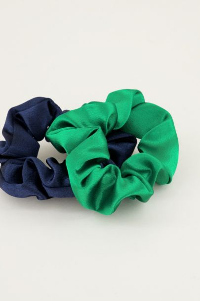 Blauwe en groene scrunchie set glimmend | Scrunchie set My Jewellery