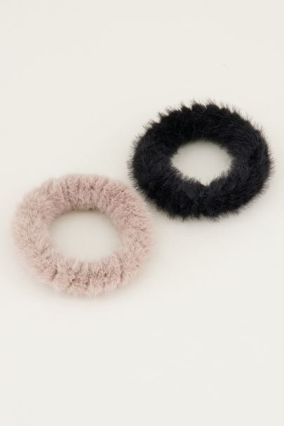 Zwarte scrunchie set fluffy | Scrunchie set My Jewellery