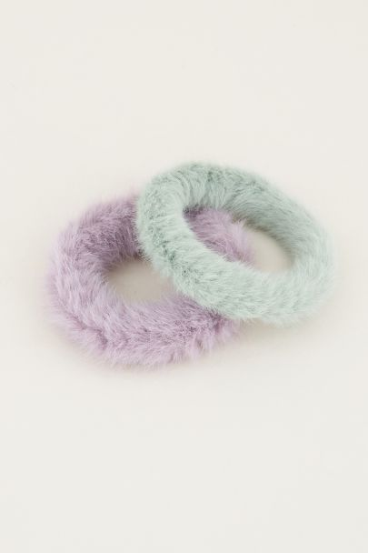 Groene scrunchie set fluffy | Scrunchie set My Jewellery