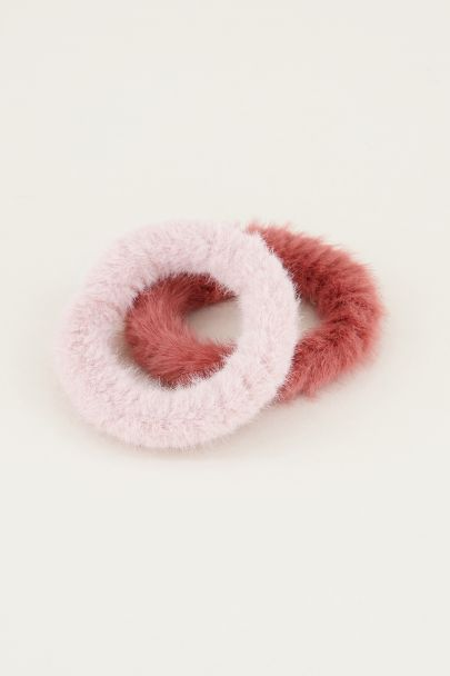 Roze scrunchie set fluffy | Roze scrunchie set My Jewellery