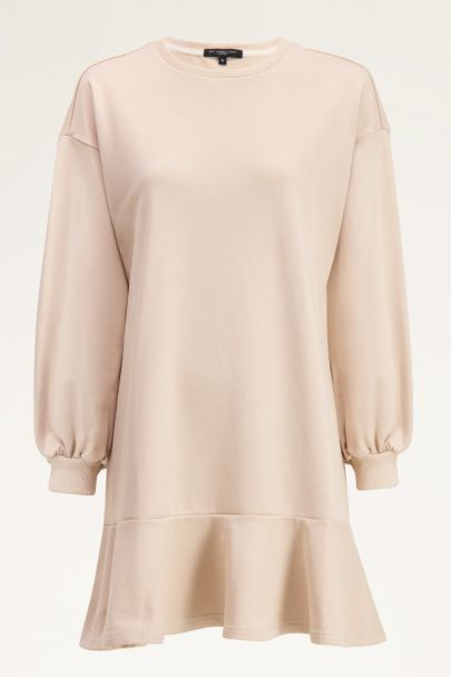 Beige sweater jurk met ruffle | My Jewellery