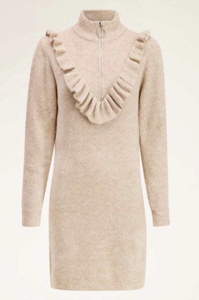 Beige sweater jurk met rits | My Jewellery