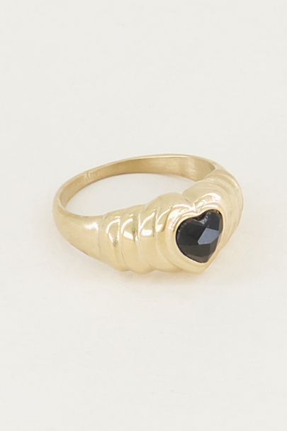 Ring black onyx hartje, zwarte onyx ring