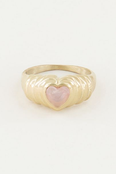 Ring rose quartz hartje, rozenkwarts ring
