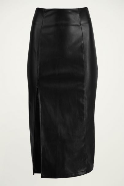 Midi rok leatherlook & split, faux leather kokerrok My Jewellery