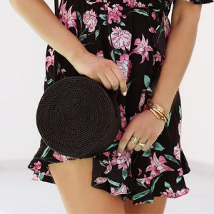 Round Bali Bag - Black