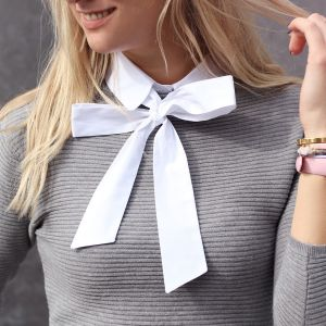 Pussy Bow Collar - White