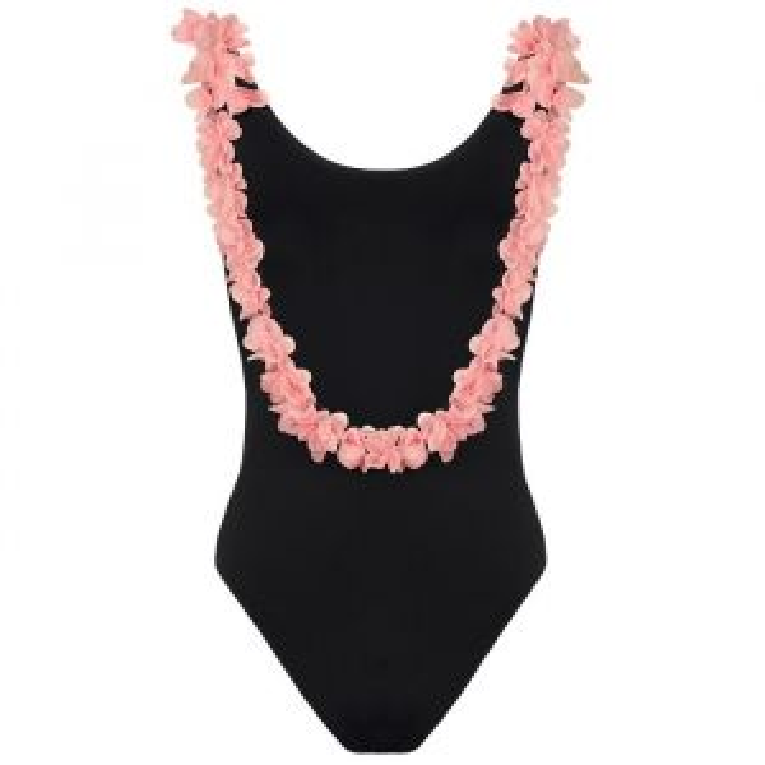 Bikini bloemen zwart roze
