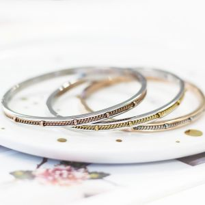 Chain Dots Bangle – Silver/Rosé