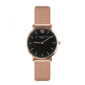 My Jewellery Mesh horloge limited edition - zwart/rose