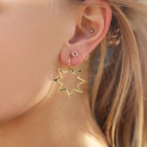 Star Pendant Earrings - Silver/Gold