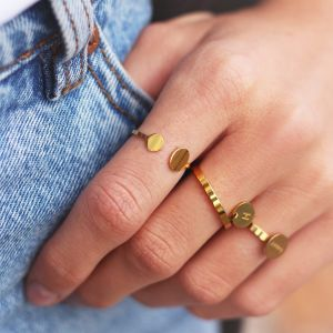 Open Double Dot Ring - Gold